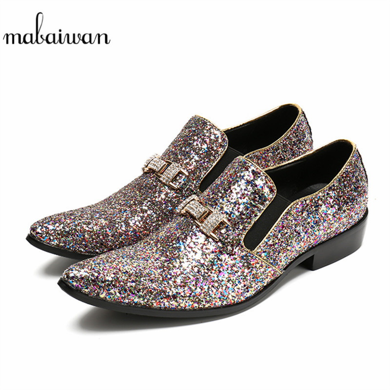 Mabaiwan Casual Shoes Men Shinny Glitter Loafers Slipper Leather Wedding Dress Shoes Men Pointed Toe Slip On Handmad Party Flats pjcmg handmad 100
