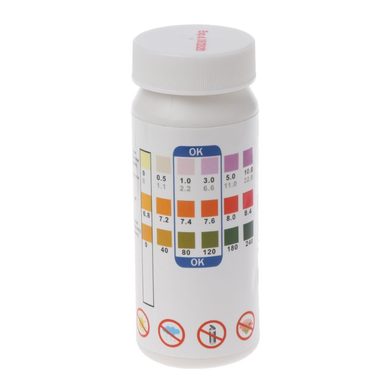 50Pc 3-in-1 One-Minute Swimming Pool Spa Water PH Chlorine Hardness Test Strips