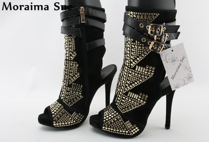 Moraima Snc Popular fashion women Boots peep toe zipper metal Rivets Decoration Mid-calf buckle strap sexy stilettos heel trendy women s mid calf boots with solid color and metal rivets design