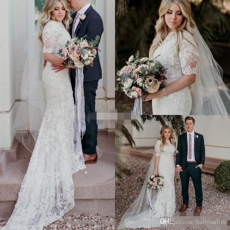 Modest Wedding Dresses 2019: 2019 New Mermaid Lace Modest Wedding Dresses With Half