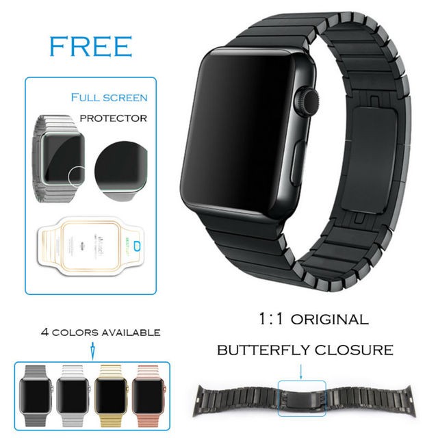 URVOI link bracelet for apple watch band series 1 2 stainless steel strap with original butterfly clasp space black silver GEN.3
