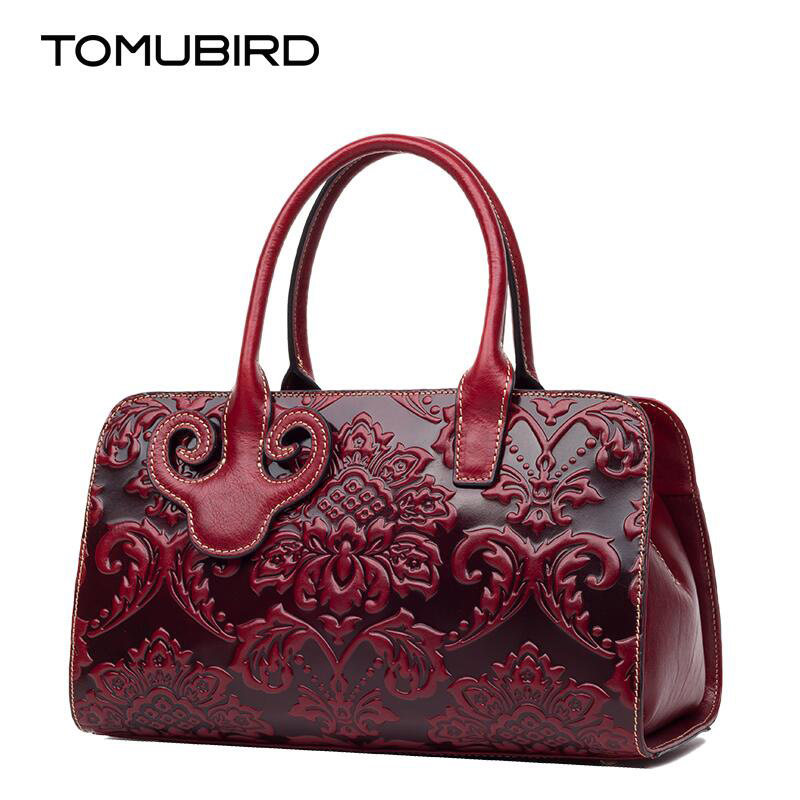 TOMUBIRD new Superior cowhide leather Luxury Embossing famous brand women Tote bag fashion  women genuine leather bag handbags