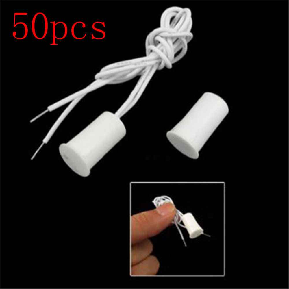 цена на 50Pair Wired Door Window Sensor Recessed Magnetic Contacts Security Reed Switch Alarm For Home Security Alarm White Hot Sale