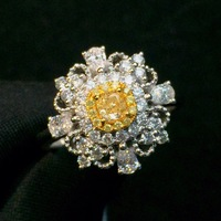 Fine Jewelry Real Pure 18 K Gold 100% Natural Yellow Diamond 0.25ct Wedding Engagement Female Rings for Women Fine Diamonds Ring