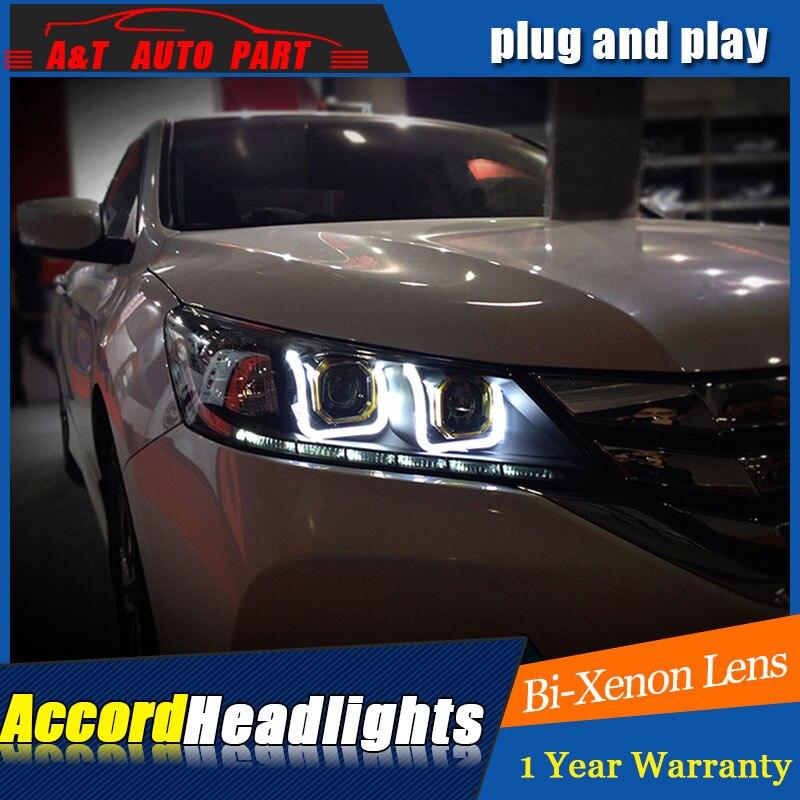 Car Styling For Honda Accord 9 headlights For Accord 13 16 LED head lamp Angel eye