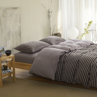 100 Cotton Simple Stripe 4 Piece Light Color Bedding Set With 1 Duvet Cover 2 Pillowcases