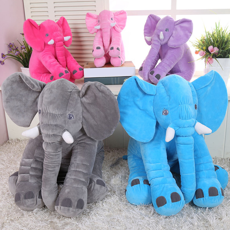 33CM/40CM Height Kawaii Cartoon Large Plush Elephant Toy Kids Sleeping Back Cushion Stuffed Pillow Baby Doll Birthday Gift D25 65cm plush giraffe toy stuffed animal toys doll cushion pillow kids baby friend birthday gift present home deco triver