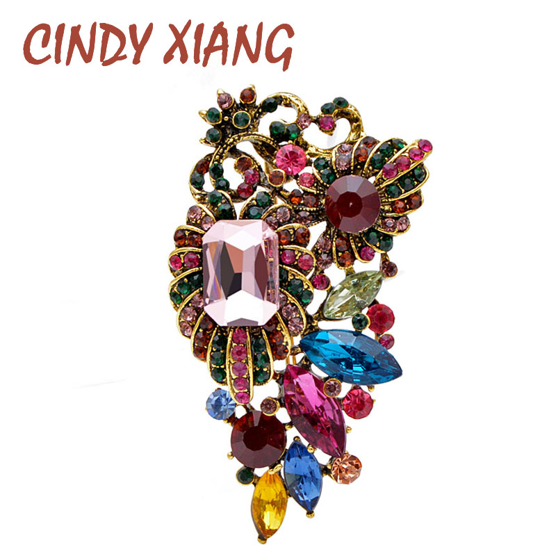 CINDY XIANG Multi-color Vintage Rhinestone Flower Brooches For Women Coat Suit Brooch Pin Elegant Accessories High Quality New