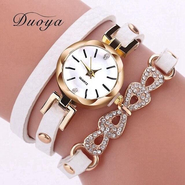 Fashion Women Dress Quartz Wrist Watch Luxury Gold Rhinestone Bracelet Bow Desgi