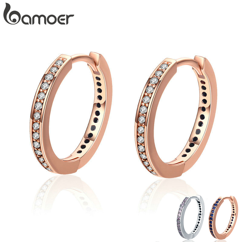 BAMOER 100% 925 Sterling Silver 4 Color Simple Gold Color Clear CZ Female Hoop Earrings for Women Fashion Jewelry Gift PAS530 colorful cubic zirconia hoop earring fashion jewelry for women multi color stone aaa cz circle hoop earrings for party jewelry