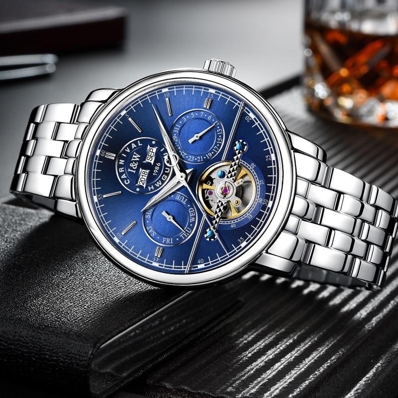 Switzerland Carnival Luxury Men Watch Tourbillon Multi-Function Blue Dial Sapphire Steel Wristwatch Reloj Hombre Luminous new luxury fashion auto tourbillon mens multi function watch black freeship hot