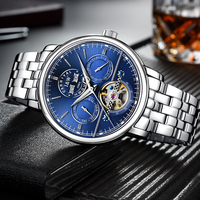 Switzerland Carnival Luxury Men Watch Tourbillon Multi Function Blue Dial Sapphire Steel Wristwatch Reloj Hombre Luminous