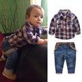 3pcs Kids Boys Car Print T-shirt Tops Plaid Coat Denim Pants Clothes Outfit Baby Children Clothing Set