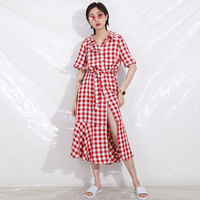 Women Short Sleeve Plaid Flannel Dresses Female Turn down Collar A Line Robe Vintage Dress Cotton Autumn Winter Vintage Dress