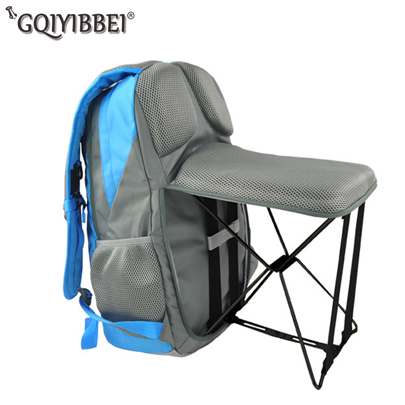 Outdoor Fishing Backpack Hiking Camping Trekking Travel Shoulder Multi functional Large Capacity Fishing Bag Folding Chairs