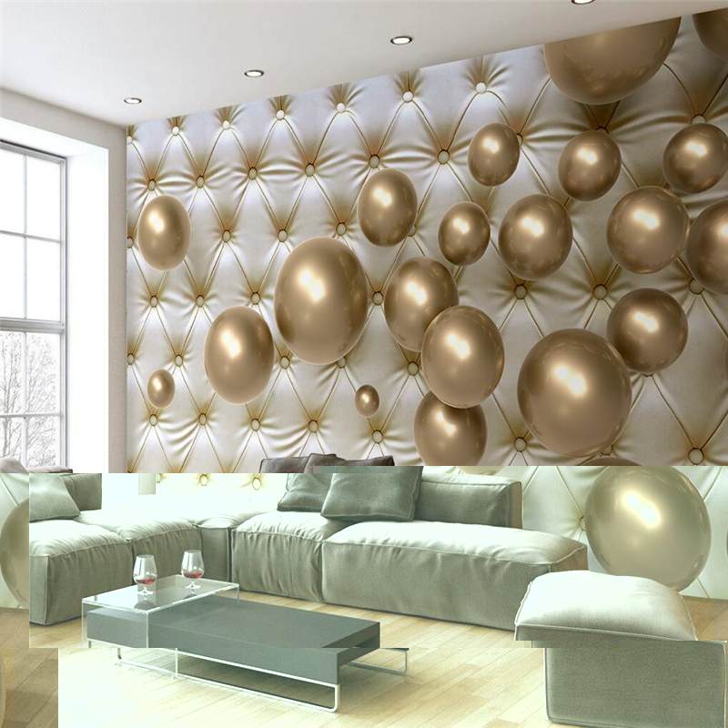 beibehang 3d photo mural living room golden ball soft bag wallpaper hotel bedroom modern back ground painting photo wall paper ...