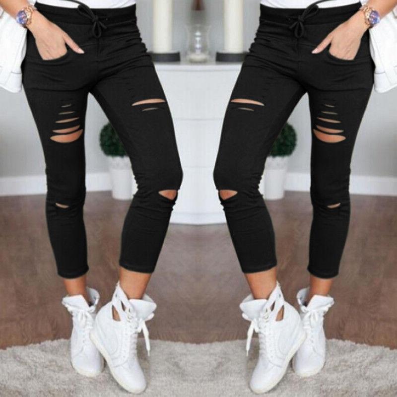 New Style Women's Fashion Casual Broken Hole Pencil Pants Slim Wild Straight Nine Pants Cotton Free Shipping
