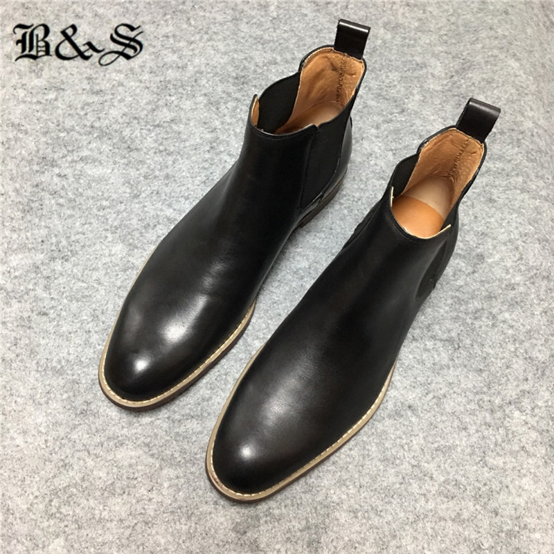 Black& Street Men's Chelsea Boots fashion simple atmosphere high top genuine leather men's Boots plus size 39-47 shoes
