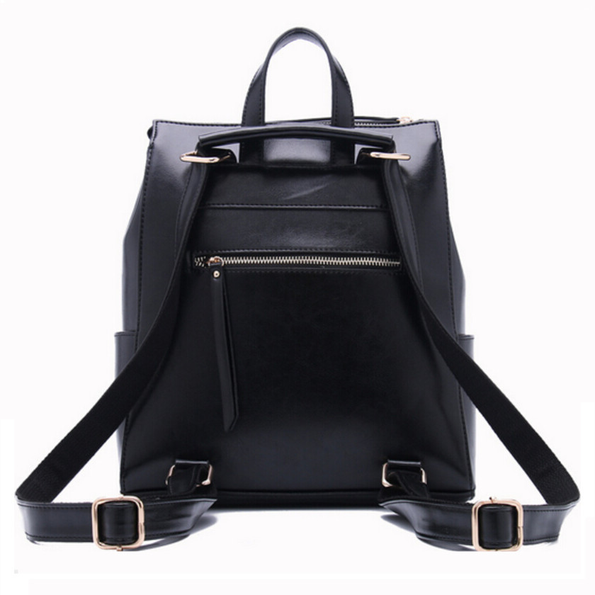 women black leather backpack female fashion office bag ladies ...