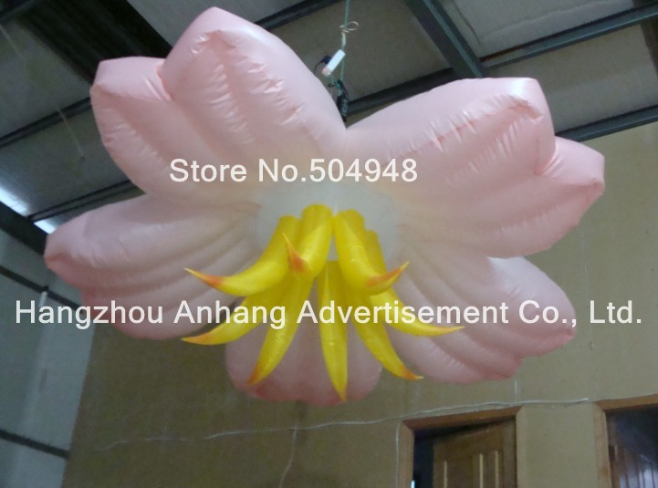 Nice Inflatable Pink Flower For Wedding Decoration lighting inflatable flower for wedding decoration
