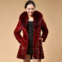 large size 3xl 4xl 5xl 2016 winter new natural real pieces mink fur coat fox fur collar long outerwear coats women clothing