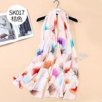 F021 New ginkgo leaf silk scarves silk print sun protection dress silk scarves