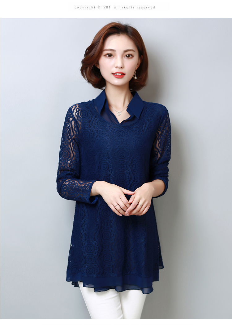 1e477766acc Plus Size 5XL Lace Blouse Fashion Women s Blouses Shirt 2019 Spring New  Chiffon Loose Long Sleeve Two Sets Shirts Ladies 908H3
