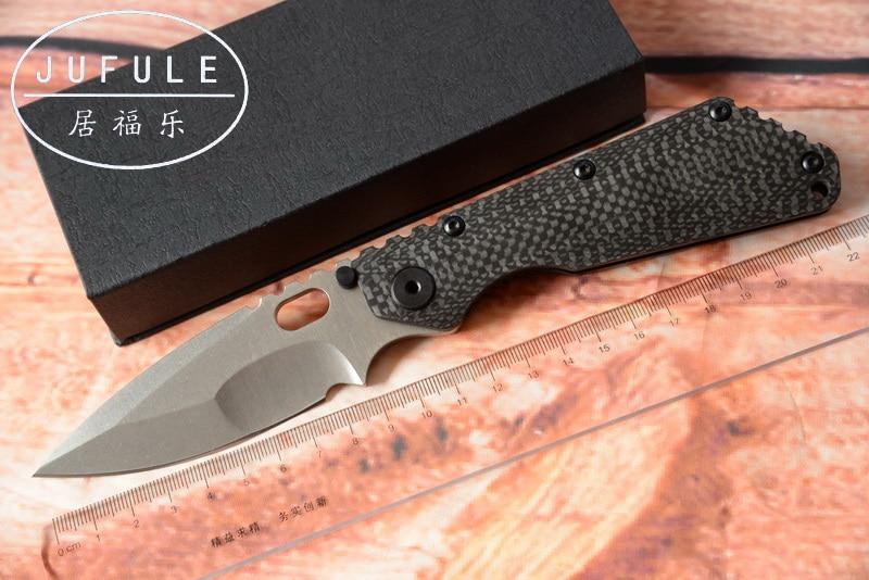 JUFULE Strider SMF carbon fiber Titanium handle D2 blade Copper washer Folding Knife hunt outdoor Tactical Knives multi EDC Tool strider 16 sport синий