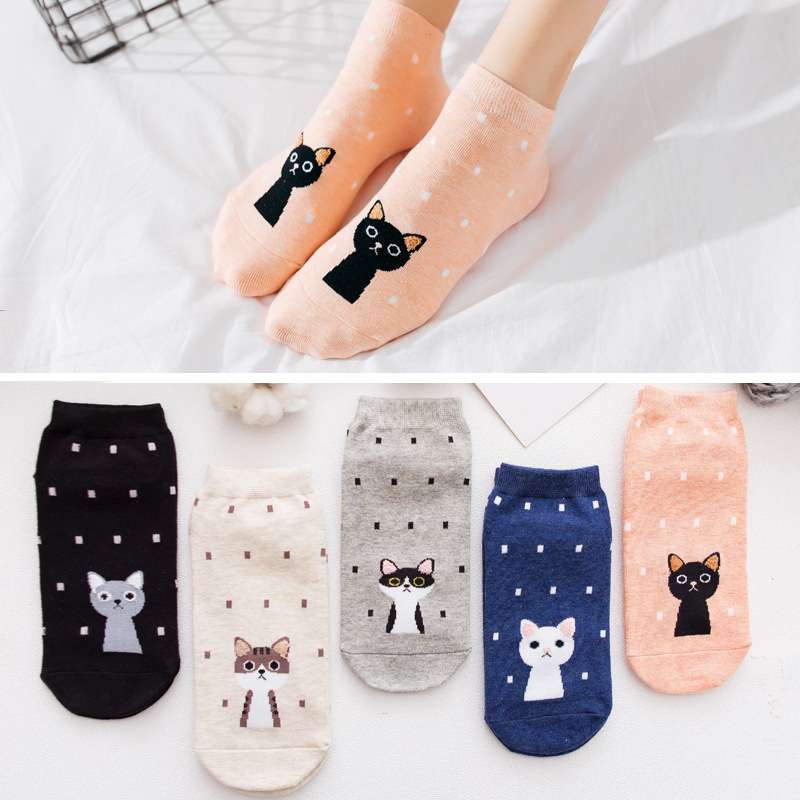 5 Pairs/Lot New Women's 3D Cat Funny   Socks   Women Cartoon Animal Ankle   Socks   Summer Ladies Girls Casual Cotton Short   Socks