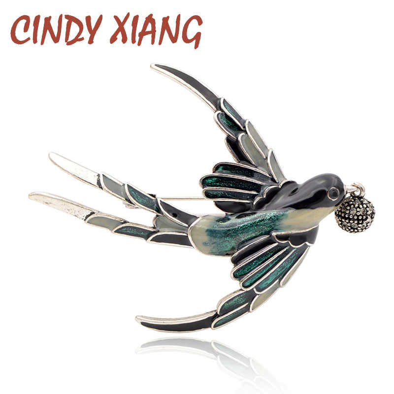 CINDY XIANG Cute Vivid Enamel Swallow Brooches for Women Fashion Animal Pins Rhinestone Bird Jewelry Coat Accessories New 2018