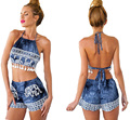 Mulher conjuntos de roupas de verão moda praia ocasional conjunto calções 2 pcs ternos de roupas halter cordão tops impresso sem encosto sexy