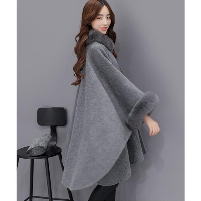 Bigsweety 2018 Winter Womens Cloak Big Fur Collar Plus Size Wool Coat Long Winter Jackets Parka Coats Outerwear 4