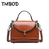 Hot 2016 Small Classical Vintage Retro Cowhide Boston Women Elegant Designer Genuine Leather Handbags Messenger Bag