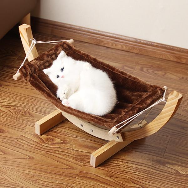 Plush Pad Wood Cat Hammock Large Dog Furniture Pet Bed Cat House Teddy  Hanging Bed Dog