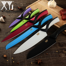 XYj Kitchen Cooking Stainless Steel Knives Tools Black Blade Paring Utility Santoku Chef Slicing Bread Kitchen Accessories Tools(China)
