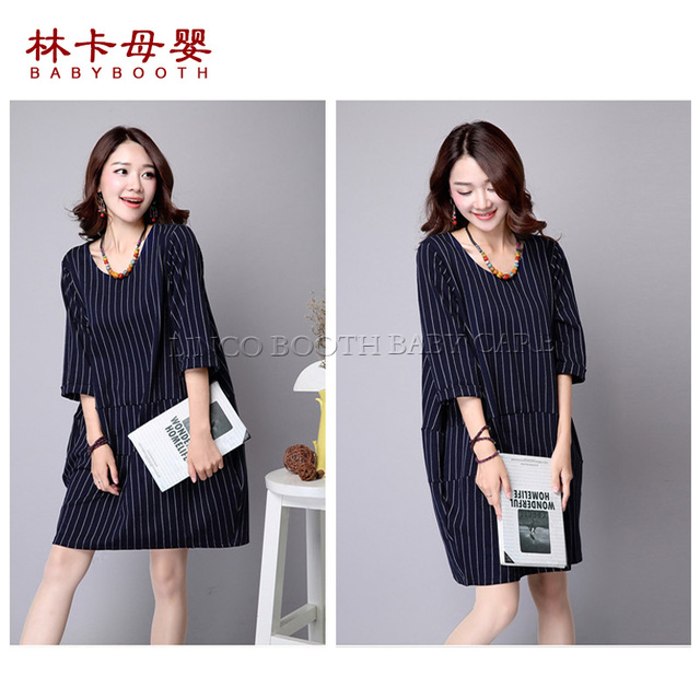 0b8a16debf06e US $20.0 |Striped Pregnant Women Cute Bear Lactation Nursing Clothes Half  Sleeve Maternity Dress Wholesale -in Dresses from Mother & Kids on ...
