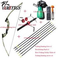Bowfishing комплект собрать лук рыбалки стрельба из лука стрелка катушка Spincast рогатки изогнутый лук съемки стрелка Охота