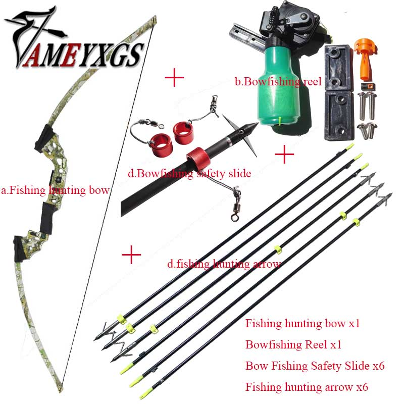 Bowfishing Set Assemble Bow Fishing Archery Arrow Reel Spincast Reel Slingshot Recurve Compound Bow Shooting Arrow Hunting shooting bow fishing slingshot catapult hunting set with reel spincast gear ratio 3 3 1