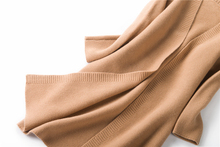 100% cashmere thick knit women long cardigan sweater coat