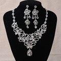 Новая Мода Великолепная 925 Серебряные Свадебные комплекты ювелирных изделий Моды Красный кристалл Rhinestone свадьба ювелирные наборы аксессуары Оптом