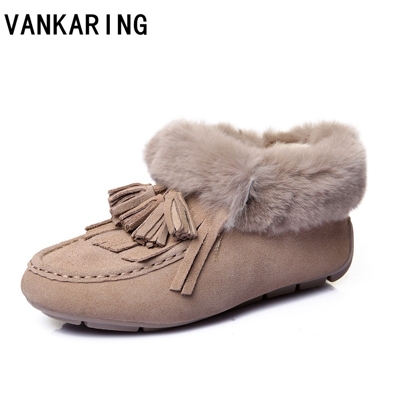 VANKARING brand fashion genuine leather fur bllet flats snow ankle boots woman tassel shoes woman autumn winter casual home shoe 2017 free genuine leather motorcycle boots biker shoes women pointed snow boots brand shoe famous designer woman flats
