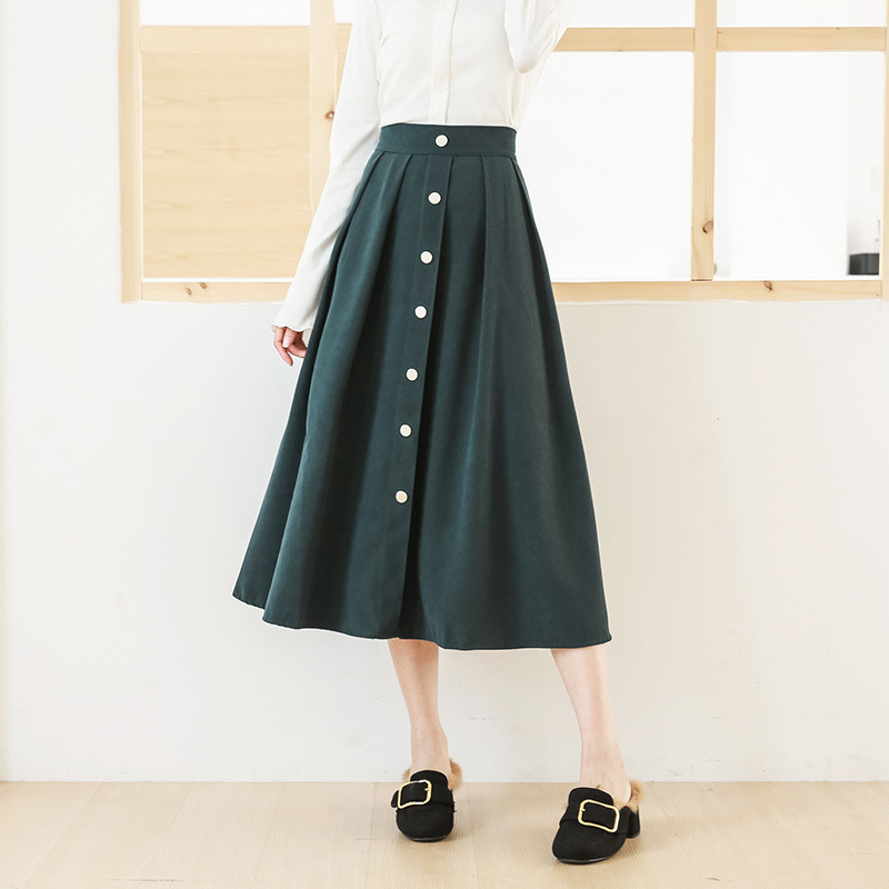 Single-breasted skirt high waist was thin a word skirts 2017 autumn and winter new loose waist