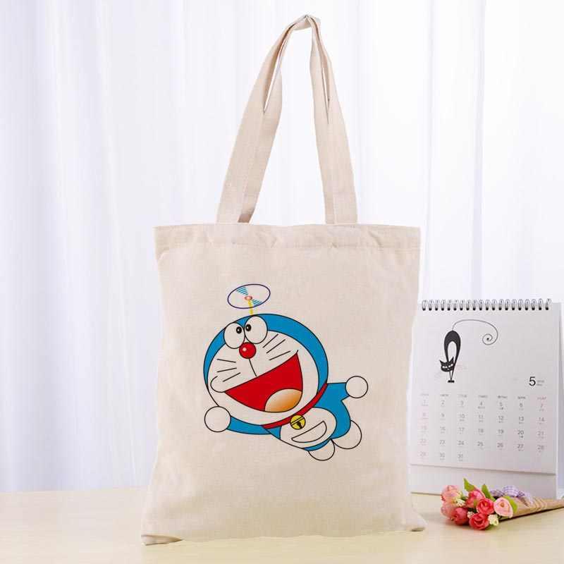 Kualitas tinggi Doraemon Kanvas Tote Tas Fashion Tahan Lama Wanita Mahasiswa Katun Linen Tas Dicetak Belanja Tas Custom logo