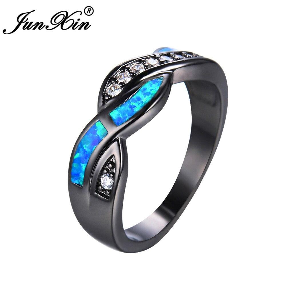 JUNXIN Blue/White Opal Ring...
