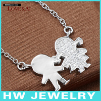 boy &girl necklace,children sterling silver 925 necklace, charm necklace, hotsale design.