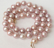 "FREE shipping > Genuine natural 17"" 10mm round purple pearls necklace  clasp e1949"