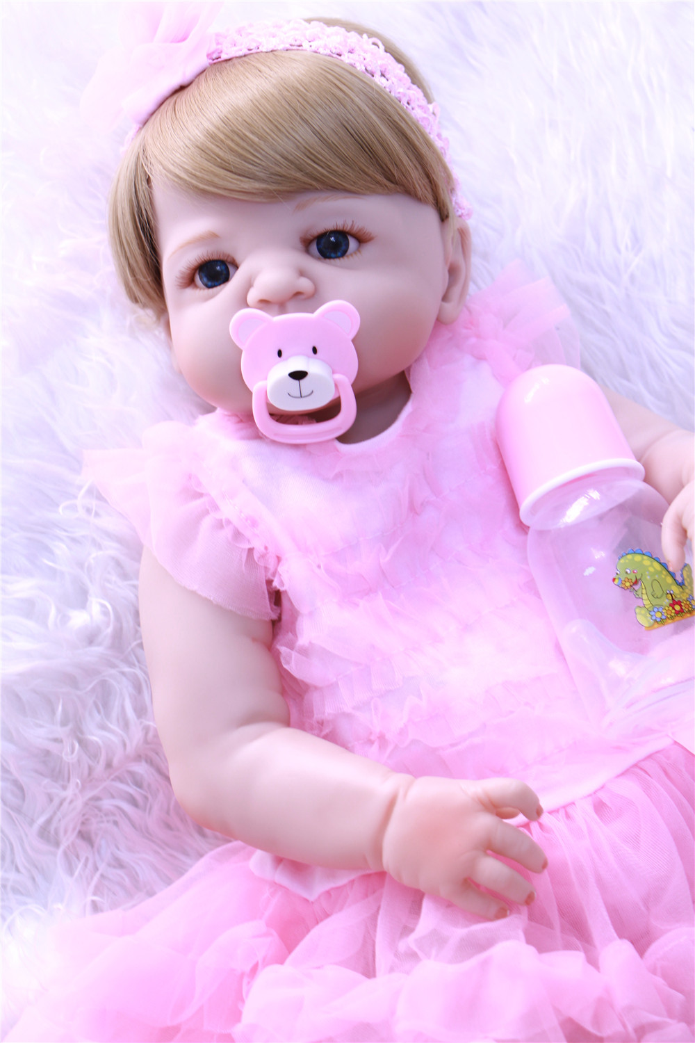 55cm Full Silicone Body Reborn Girl Baby Doll Toy Lifelike Vinyl <font><b>Princess</b></font> <font><b>Toddler</b></font> Doll Birthday Gift Present Girl Brinquedos image