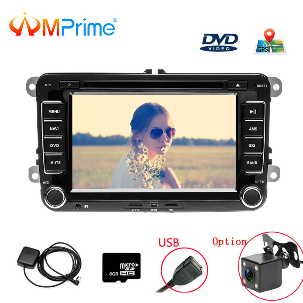 AMprime 2 Din 7 Car DVD Player For VW/Volkswagen/Passat/POLO/GOLF/Skoda/Seat With GPS Navigation Aux Maps 2din Car Navigation car dvd gps android 8 1 player 2din radio universal wifi gps navigation audio for skoda octavia fabia rapid yeti superb vw seat