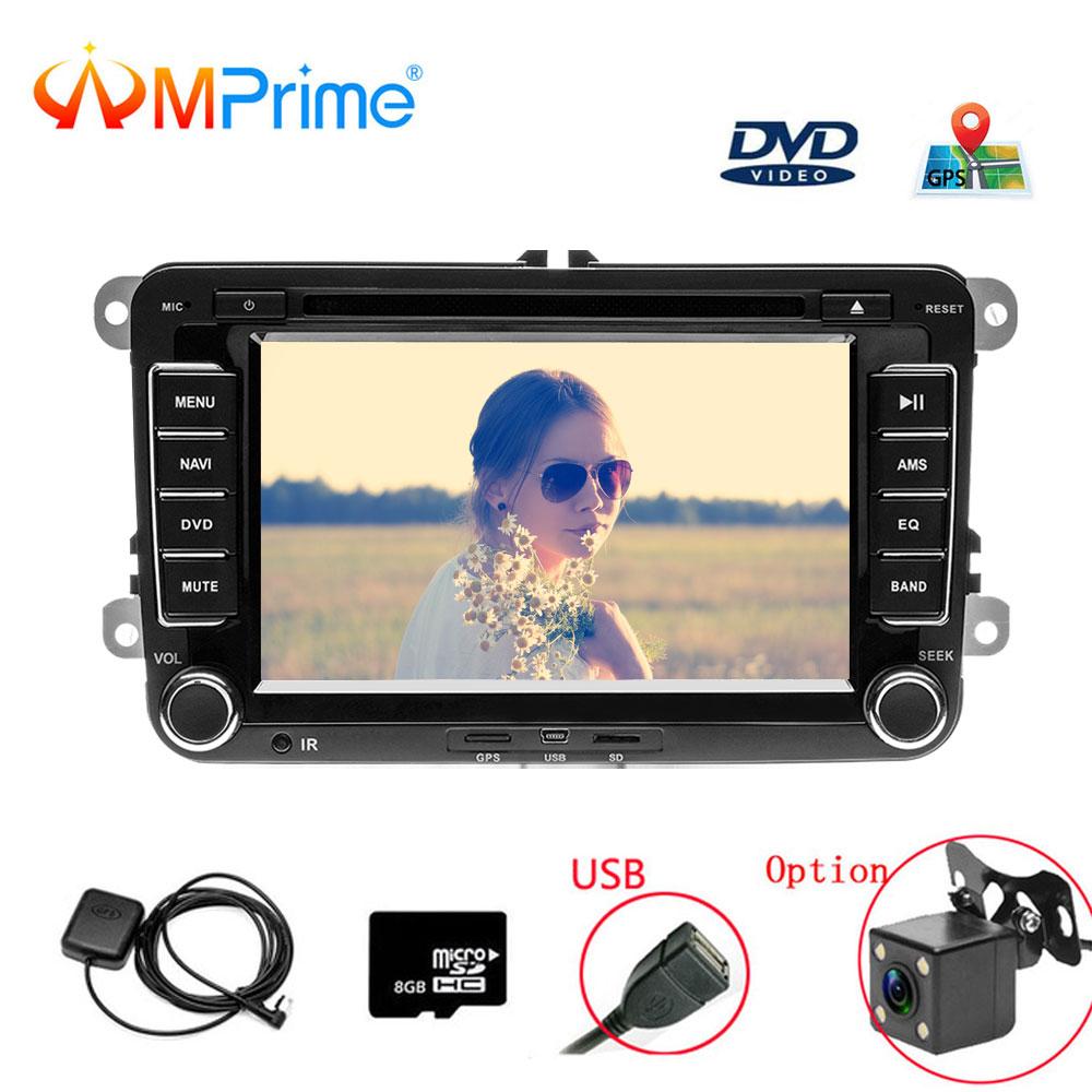 AMprime 2 Din 7 Car DVD Player For VW/Volkswagen/Passat/POLO/GOLF/Skoda/Seat With GPS Navigation Aux Maps 2din Car Navigation