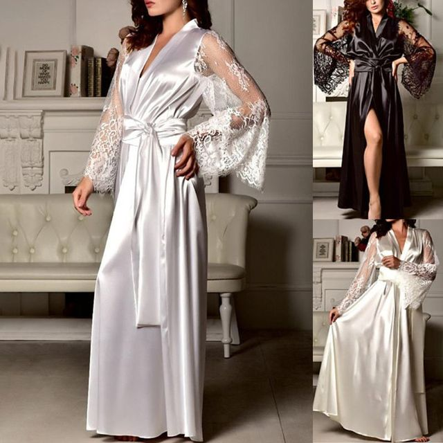 7faa0f186b Womens Deep V-Neck Maxi Long Nightdress Open Front Faux Silk Floral Lace  Sleeve Kimono Bathrobe Solid Color Satin Sashes Belt Ni